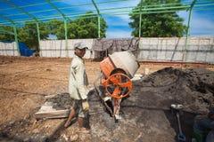 Cement mixer operator Stock Photo