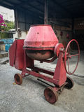 Cement mixer. The red cement mixer on the floor Royalty Free Stock Images