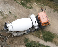 Cement mixer truck. At work above royalty free stock images