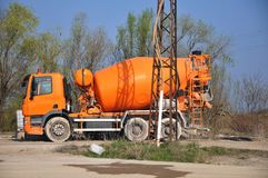 Cement Mixer Truck. Cement  mixing trucks in the concrete factory Stock Image