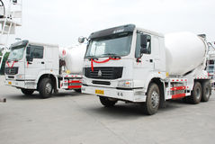 Cement Mixer Truck. On the parking, in Sichua,China stock images