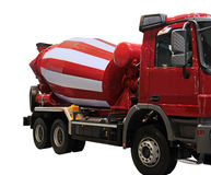 Cement Mixer Truck. Red Cement Mixer Truck isolated on white stock images