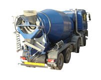 Cement Mixer Truck. Blue Cement Mixer Truck isolated on white royalty free stock photo