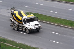 Cement mixer truck. On the street stock images