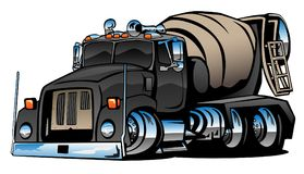 Cement Mixer Truck Cartoon Vector Illustration. Cool cement truck vector illustration, with lots of chrome, aggressive hot rod stance vector illustration