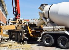Cement mixer truck at the construction site. Outdoor royalty free stock images