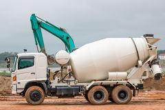 Cement Mixer Truck. In construction site stock images