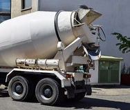 Cement mixer truck. At the construction site royalty free stock photos