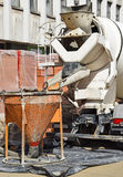 Cement mixer truck. At the construction site Stock Photography
