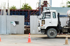 Cement mixer truck at a construction site, selective focus at the truck.  stock photography