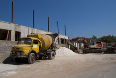Cement mixer truck and digger. Yellow cement mixer truck and digger stock photo