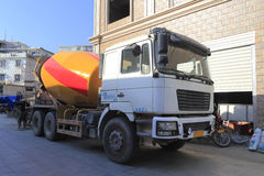 Cement mixer truck. By the road in amoy city, china royalty free stock images
