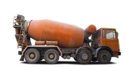 Cement mixer truck side view  on white. Orange cement mixer truck side view  on white royalty free stock photo