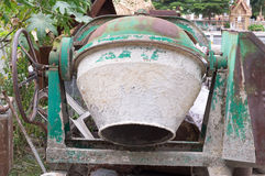 Cement mixer truck. At the temple stock photo