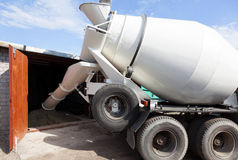 Cement mixer truck transport. To deliver the goods to the customer royalty free stock photos