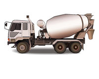 Cement mixer truck on white Royalty Free Stock Image