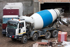 Cement mixer truck. On yard royalty free stock photos