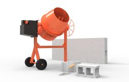 Cement mixer and wall Stock Photography