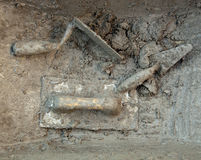Cement mortar dirty grunge trowel tools Stock Photo