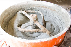 Cement or mortar is inside cement mixer. Cement or mortar is mix Stock Photography