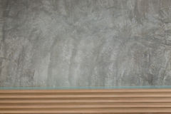 Cement mortar wall texture with wooden headboard Royalty Free Stock Photography