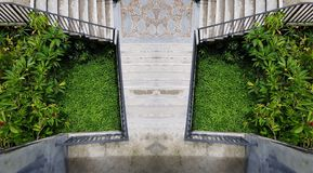 Cement outdoor stairs into the green garden. modern stairway. symmetry staircase photo. outdoor exterior decoration design royalty free stock image