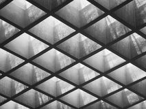 Cement panel ceiling pattern Lighting void Architecture details. Art abstract royalty free stock images
