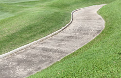 Cement path curving through green lawn in golf course. Stock Image