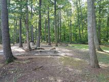 Cement picnic tables royalty free stock images
