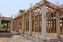Cement pillar and wood in construct site stock photos
