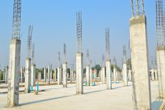 Cement pillar in construct site. And blue sky Royalty Free Stock Photos