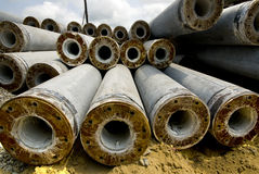 Cement pipe. Arrangement in the construction site Royalty Free Stock Images