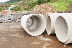 Cement pipes Stock Images