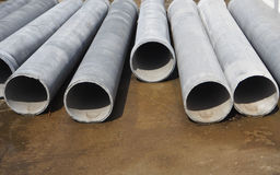 cement pipes on the ground Royalty Free Stock Photography