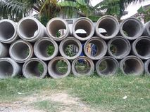 Cement pipes Stock Photos