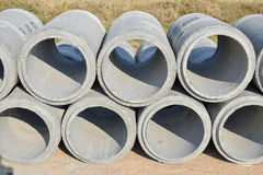 Cement pipes stacking at yard Royalty Free Stock Photography