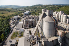 Cement plant. View outdoor a cement plant in Romania Stock Photo