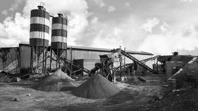 Cement plant factory manufacturing. Black and white stock photography