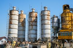 Cement plant factory manufacturing. On blue sky stock photo
