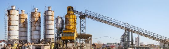 Cement plant factory manufacturing. Panorama royalty free stock images