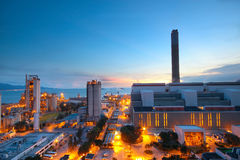Cement Plant and power sation. In sunset Stock Photography