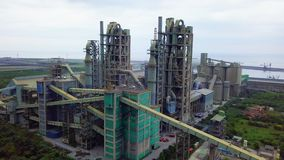 Cement Plant in Taiwan. Aerial View. Shot with a DJI Mavic fps 29,97 4k stock video
