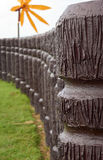 Cement pole in wood like in curve line. Cement pole in wood like place in curve line royalty free stock photos