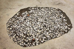 Cement road hole Royalty Free Stock Image