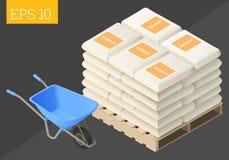 Cement sack and wheelbarrow Royalty Free Stock Image
