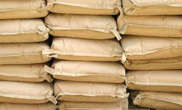 Cement Sacks. Neatly stacked for a construction project Stock Photo