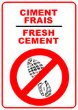 Cement sign. Caution - fresh cement warning sign Stock Photo