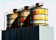 Cement silos, Silloth, Cumbria Royalty Free Stock Photography