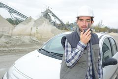 In the cement site. Car royalty free stock photo
