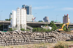 Cement sleepers stack. Royalty Free Stock Photo